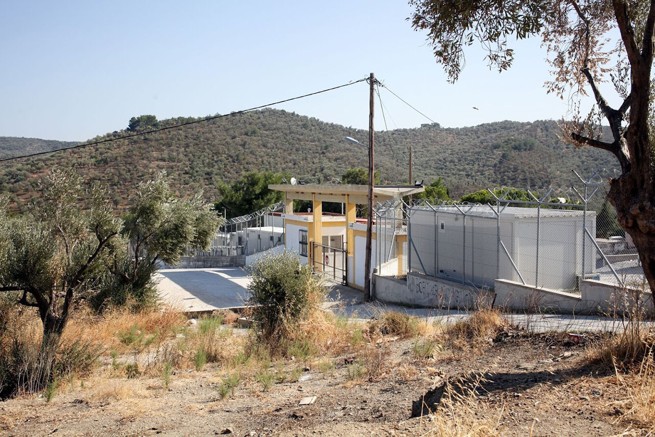 The old entrance to Moria refugee camp in Lesvos
